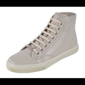 New Gucci Men's 423300 White High Top Sneakers